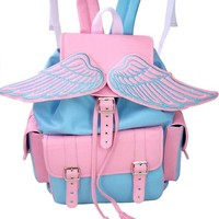 Winged Baby Blue and Pink Sid Backpack   Lostmannequin