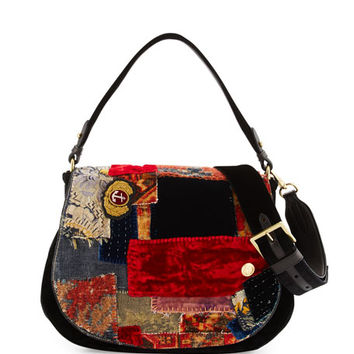 Ralph Lauren Embroidered Patchwork Crossbody Hobo Bag, Multi