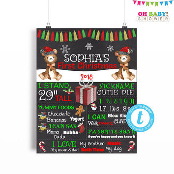 Baby's First Christmas Sign, Baby Christmas Photo Prop, Christmas Baby Photo Shoot, Template, Editable Chalkboard Sign, 16x20 8x10 BRS