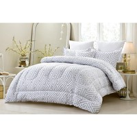 4 PC GEOMETRIC MODERN ALL SEASON SUPER SOFT OVERSIZED COMFORTER SET - GRAY - STYLE 1056