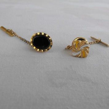 Two Elegant Tie Tacs Lapel Pins Black White Goldtone Vintage Jewelry