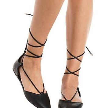 BAMBOO LACE-UP POINTED TOE FLATS