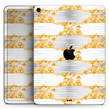 "Karamfila Yellow & Gray Floral V4 - Full Body Skin Decal for the Apple iPad Pro 12.9"", 11"", 10.5"", 9.7"", Air or Mini (All Models Available)"
