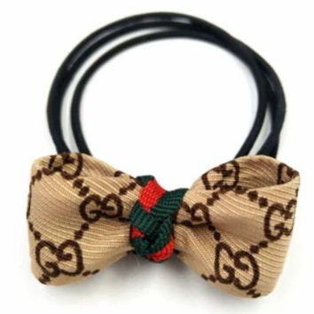 DCCKR2 GUCCI bow hair tie hair elastic band rope head jewelry F0304-1 khaki