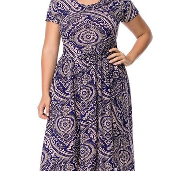 Streetstyle  Casual Drawstring Printed Round Neck Midi Plus Size Flared Dress