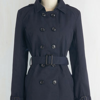 Mid-length Long Sleeve Double Breasted Fan You Believe It? Coat in Navy