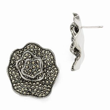 Sterling Silver Marcasite Flower Post Earrings