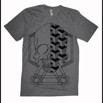 Men's Geometric Skull T-shirt Sacred Geometry Dotwork Linework Geometric Pattern Grey