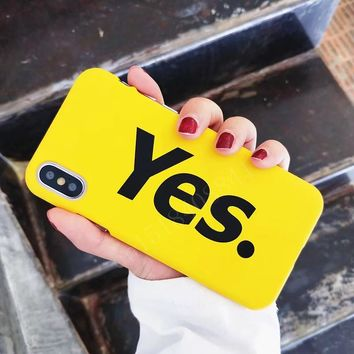 Luxury Hard PC Phone Case For iphone X Case For iphone 7 6 6s 8 Plus Fashion Funny YES  Print Back Cover Ultra thin Yellow Cases