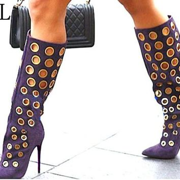 LTTL Sexy Winter Women Knee High Boots Cut-outs Polka Dot Boots Pointed Toe High Heel Women Suede Shoes Fashion Gold Holes Boots