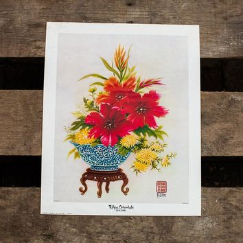 K Chin Tulips Orientale Lithograph