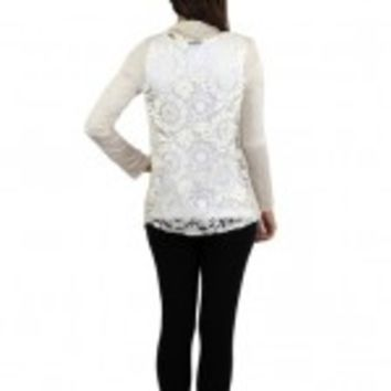 Cream Cardigan With Lace Back