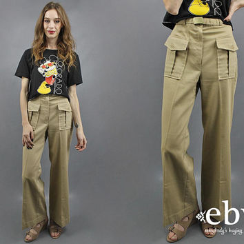 Work Pants High Waisted Pants High Waist Pants Khaki Pants 1970s Pants 70s Pants Flared Pants High Waisted Trousers Khaki Trousers S