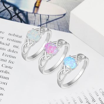 Sterling Silver Braided Ring with Oval White Pink Blue Opal Stone Wedding Engagement Rings for Women (