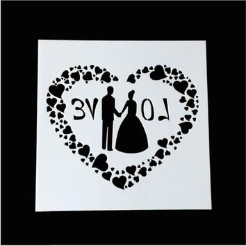 MS512 LOVE Wedding Masking Spray Stencil For Walls Painting Embossing Paper Crafts Scrapbook Stamp DIY Tools Photo Album Card