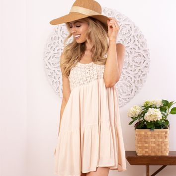 Lace Blocked Babydoll Dress