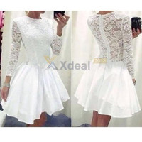 Women Sexy Lace Long Sleeve Bodycon Cocktail Evening Party Short Mini Dress New