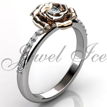 Flower Engagement Ring - 14k white and rose gold diamond unusual unique flower engagement ring, wedding ring, anniversary ring ER-1121-5