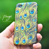 Apple iphone case for iphone iphone 4 iphone 4s iphone 3Gs: Golden peacock feather pattern