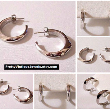 Avon Open End Hoops Pierced Stud Earrings Silver Tone Vintage Large Round Polished Pointed Thick Band Surgical Steel Posts