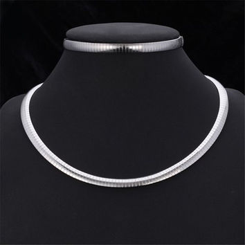 Silver Titanium Steel Snake Chain Choker Necklace and Bracelet