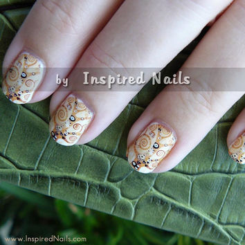Klimt Tree of Life Nail Art in Full Nail Decals by InspiredNails