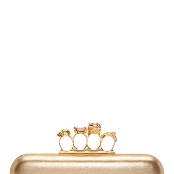 Alexander Mcqueen Gold Leather And Crystal Knucklebox Clutch