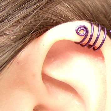 Purple Spiral Ear Cuff Triple Wrap by SimplyBeadifulDesign on Etsy