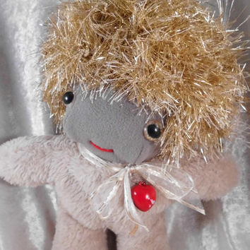 GOLDEN GLITTER Wild Hair Happy Cute DOLL - Home Decor Small Soft Dwarf Gnome Sprite Fairy Toy - Handmade Ooak tallhappycolors