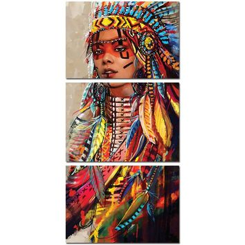 Native American Indian Girl Feathered Wall Pictures on Canvas