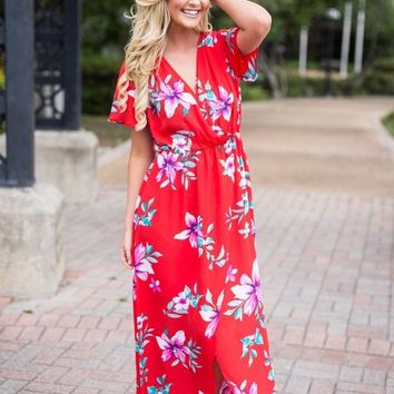 Beach Shell Maxi Dress- Red Floral
