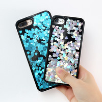 KISSCASE Case For iPhone 6 7 6S 6 7 6S Plus Dynamic Liquid Quicksand Bling Sequin Love Heart Hard Cover Case For iPhone 6 7 6S
