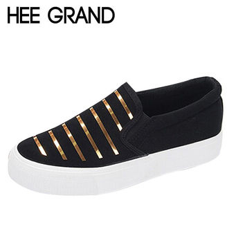 HEE GRAND New Spring Metal Stripe Woman Casual Shoes Flat Platform Canvas Shoes Color Silver Gold XWD3029
