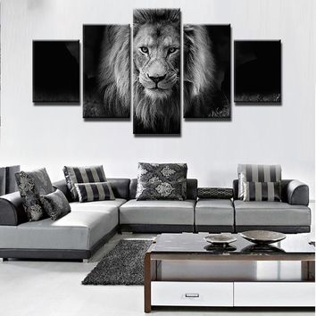 5 Panel Modern Art Canvas Lion Painting