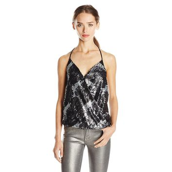 Women's Sexy Black Sequin Sleeveless Plunging Halter Top