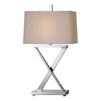 Xavier Contemporary Polished Nickel Table Lamp by Uttermost