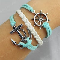 jewelry Anchor & Rudder Bracelet Antique Silver Bracelet Wax Cords and Imitation Leather Bracelet Best Chosen Gift