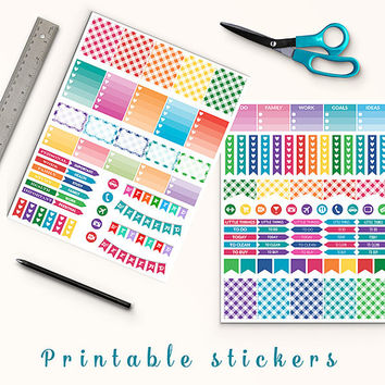 50% OFF SALE Gingham Stickers Printable Planner Stickers Erin Condren Box Stickers Page Flags Weekend Banners To Do Stickers Weekly Kit