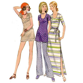 Butterick 5770 Mini Maxi Dress & Pants 1970s Vintage sewing pattern Size 10 Bust 32 1/2