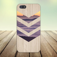 Purple Fog x Orange Sunset Chevron Wood Design Case for iPhone 6 6 Plus iPhone 5 5s 5c iPhone 4 4s Samsung Galaxy s5 s4 & s3 and Note 4 3 2
