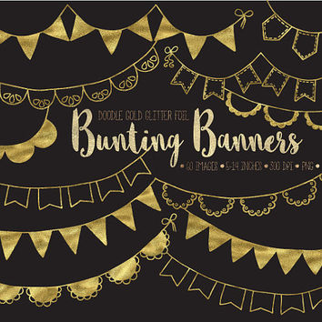 ON SALE. Gold Bunting Banner Clip Art. Gold Foil Bunting Flags. Gold Glitter Party Garland. Birthday, Wedding, Gold Metallic Bunting Clipart