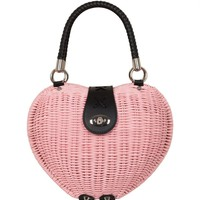 Voodoo Vixen Pink Heart Wicker Handbag