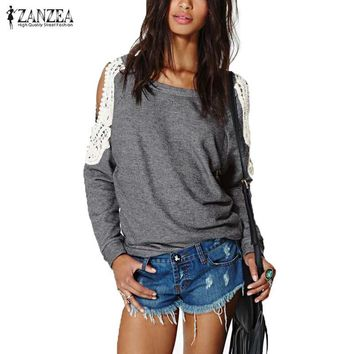Spring Autumn 2016 Women Off Shoulder Long Sleeve Casual Sexy Lace Crochet Splice Shirts Tops Blouse Hoodies Sweatshirts