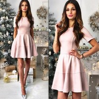 Pink Plain Pleated Zipper Round Neck Fashion Mini Dress