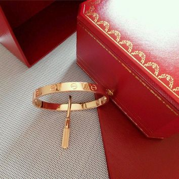One-nice? Authentic Cartier Love Bangle Bracelet in 18k Rose Gold USAsize 19