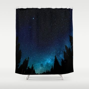 Black Trees Turquoise Milky Way Stars Shower Curtain by 2sweet4words Designs