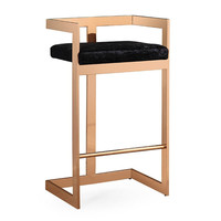 Marquee Black Velvet / Gold Bar Stool