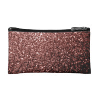 Beautiful Glam Marsala Brown-Red Glitter sparkles Cosmetics Bags by PLdesign