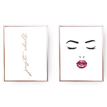 Set Of 2 Prints, Just Chill Print, Woman Face Art, Makeup Print, Home Decor, Gold Foil Print, Chillout Poster, Kiss Print, Typography Print
