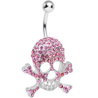 Pink Gem Paved Dazzling Skull Belly Ring | Body Candy Body Jewelry